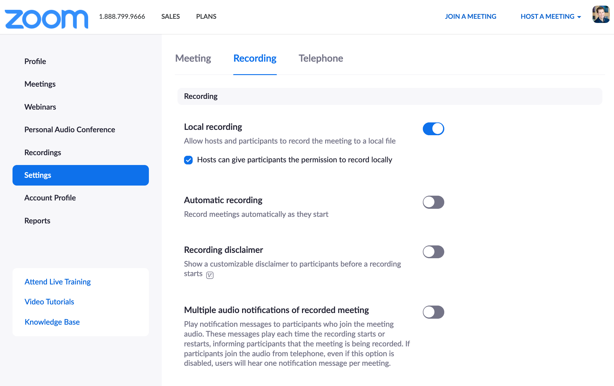 Zoom recording settings page